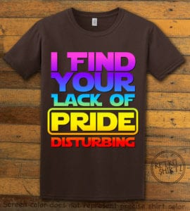 This is the main graphic design on a brown shirt for the Pride Shirts: Star Wars Gay Pride