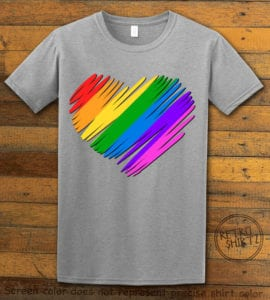 This is the main graphic design on a gray shirt for the Pride Shirts: Pride Heart