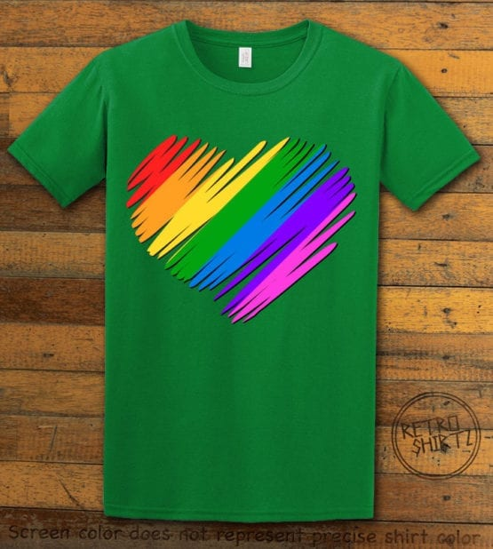 This is the main graphic design on a green shirt for the Pride Shirts: Pride Heart