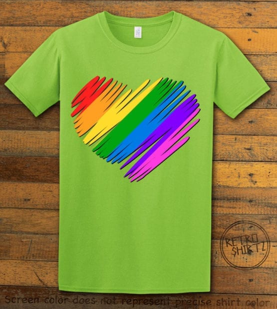 This is the main graphic design on a lime shirt for the Pride Shirts: Pride Heart