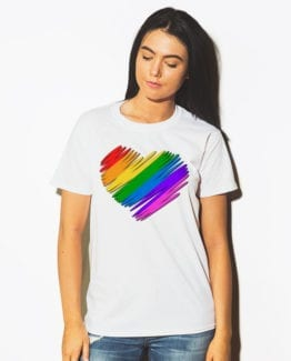 This is the main model photo for the Pride Shirts: Pride Heart