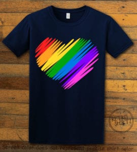 This is the main graphic design on a navy shirt for the Pride Shirts: Pride Heart