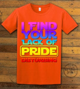 This is the main graphic design on a orange shirt for the Pride Shirts: Star Wars Gay Pride