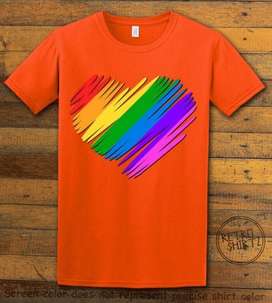 This is the main graphic design on a orange shirt for the Pride Shirts: Pride Heart
