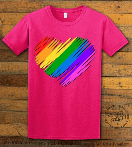 This is the main graphic design on a pink shirt for the Pride Shirts: Pride Heart