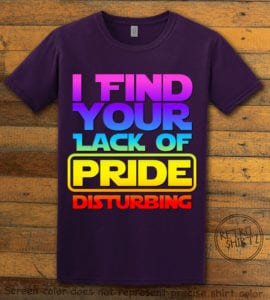 This is the main graphic design on a purple shirt for the Pride Shirts: Star Wars Gay Pride
