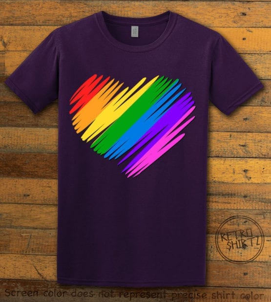 This is the main graphic design on a purple shirt for the Pride Shirts: Pride Heart