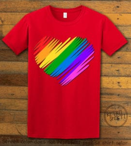 This is the main graphic design on a red shirt for the Pride Shirts: Pride Heart