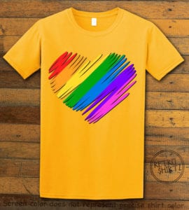 This is the main graphic design on a yellow shirt for the Pride Shirts: Pride Heart