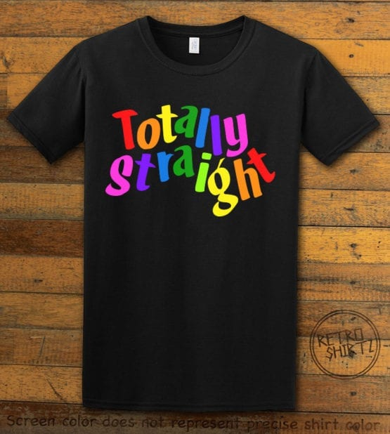 This is the main graphic design on a black shirt for the Pride Shirts: Totally Straight