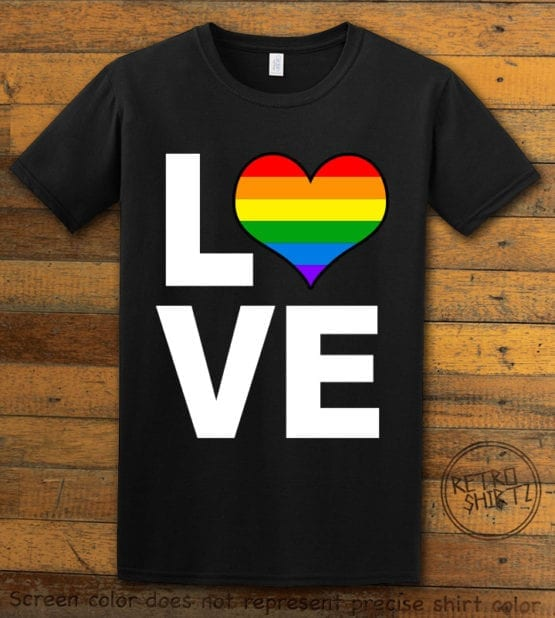 This is the main graphic design on a black shirt for the Pride Shirts: Love Heart Rainbow