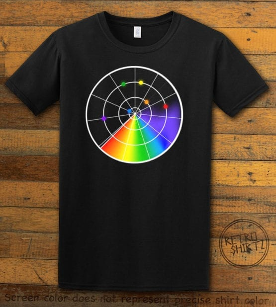 This is the main graphic design on a black shirt for the Pride Shirts: Gaydar