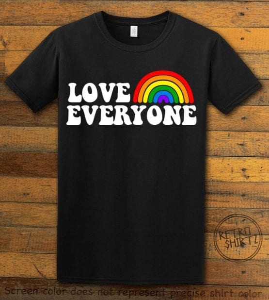 This is the main graphic design on a black shirt for the Pride Shirts: Love Everyone