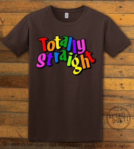 This is the main graphic design on a brown shirt for the Pride Shirts: Totally Straight