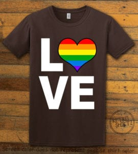 This is the main graphic design on a brown shirt for the Pride Shirts: Love Heart Rainbow