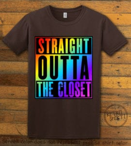 This is the main graphic design on a brown shirt for the Pride Shirts: Straight Out of the Closet