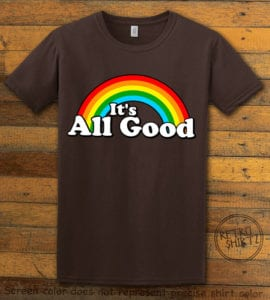 This is the main graphic design on a brown shirt for the Pride Shirts: Good Rainbow