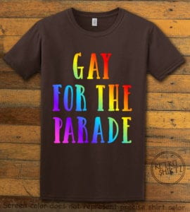 This is the main graphic design on a brown shirt for the Pride Shirts: Pride Parade