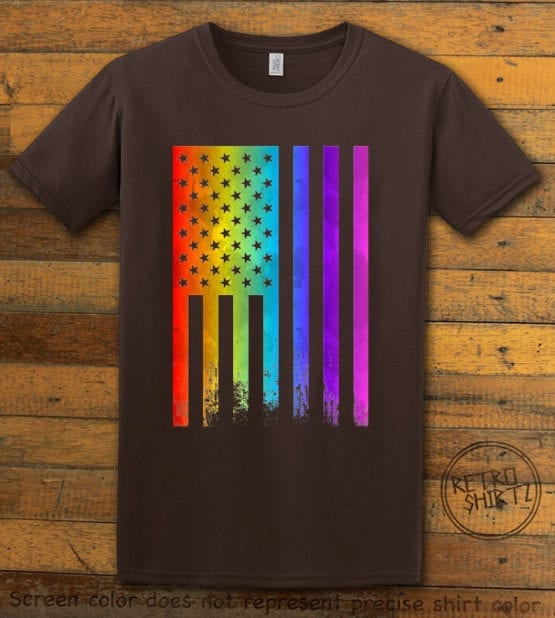 This is the main graphic design on a brown shirt for the Pride Shirts: Pride Flag Distressed