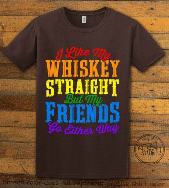 This is the main graphic design on a brown shirt for the Pride Shirts: Whiskey Gay Pride