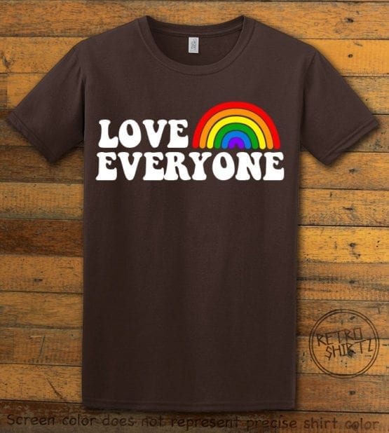 This is the main graphic design on a brown shirt for the Pride Shirts: Love Everyone