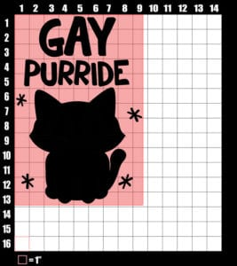 These are the graphic design dimensions for the Pride Shirts: Gay Pride Kitten