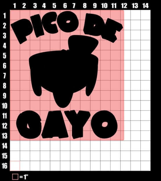 These are the graphic design dimensions for the Pride Shirts: Pico de Gayo