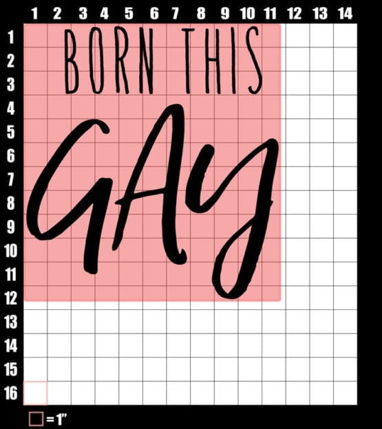 These are the graphic design dimensions for the Pride Shirts: Born This Gay
