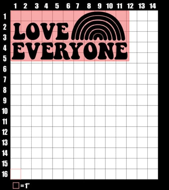 These are the graphic design dimensions for the Pride Shirts: Love Everyone