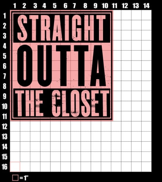 These are the graphic design dimensions for the Pride Shirts: Straight Out of the Closet