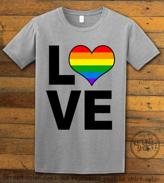 This is the main graphic design on a gray shirt for the Pride Shirts: Love Heart Rainbow