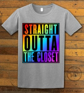 This is the main graphic design on a gray shirt for the Pride Shirts: Straight Out of the Closet