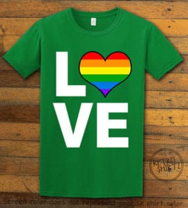 This is the main graphic design on a green shirt for the Pride Shirts: Love Heart Rainbow
