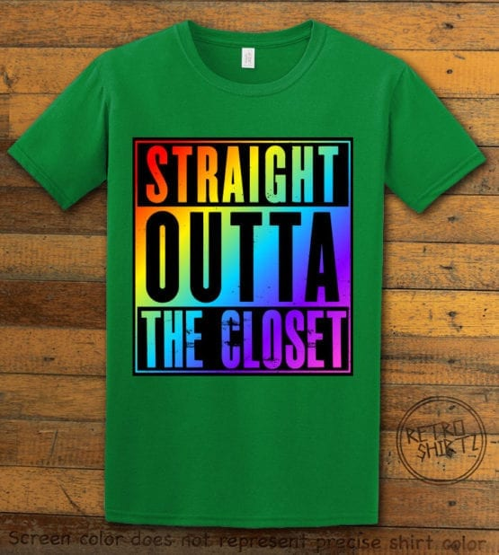 This is the main graphic design on a green shirt for the Pride Shirts: Straight Out of the Closet