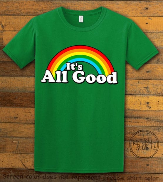 This is the main graphic design on a green shirt for the Pride Shirts: Good Rainbow