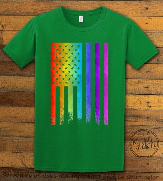 This is the main graphic design on a green shirt for the Pride Shirts: Pride Flag Distressed