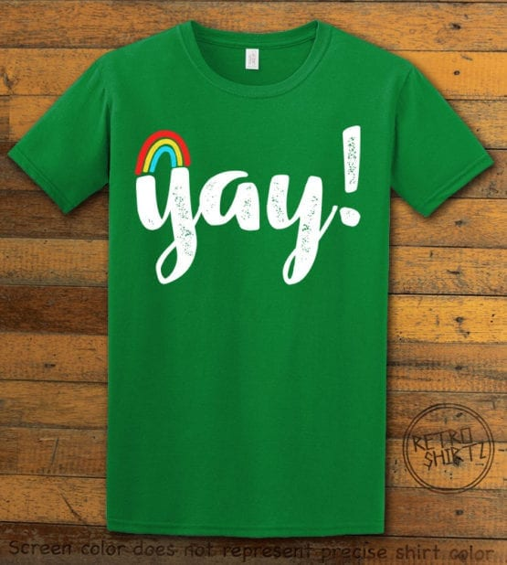 This is the main graphic design on a green shirt for the Pride Shirts: Yay Gay Rainbow