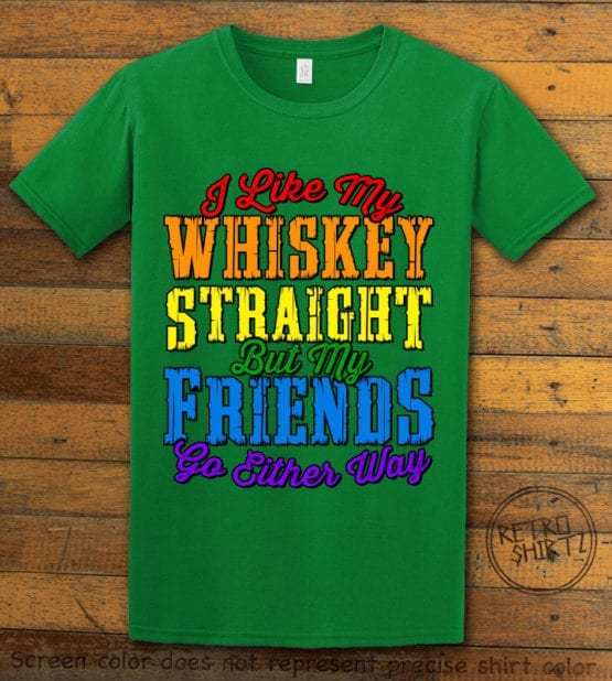 This is the main graphic design on a green shirt for the Pride Shirts: Whiskey Gay Pride