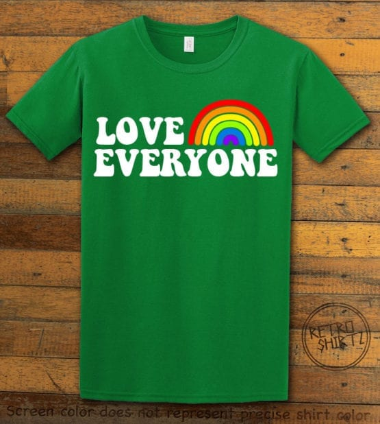This is the main graphic design on a green shirt for the Pride Shirts: Love Everyone