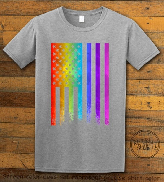 This is the main graphic design on a gray shirt for the Pride Shirts: Pride Flag Distressed