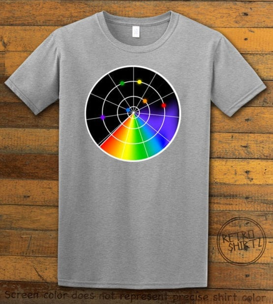 This is the main graphic design on a gray shirt for the Pride Shirts: Gaydar
