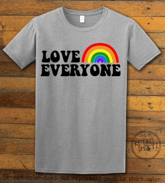 This is the main graphic design on a gray shirt for the Pride Shirts: Love Everyone