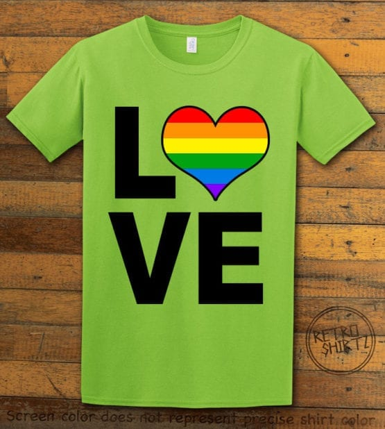 This is the main graphic design on a lime shirt for the Pride Shirts: Love Heart Rainbow