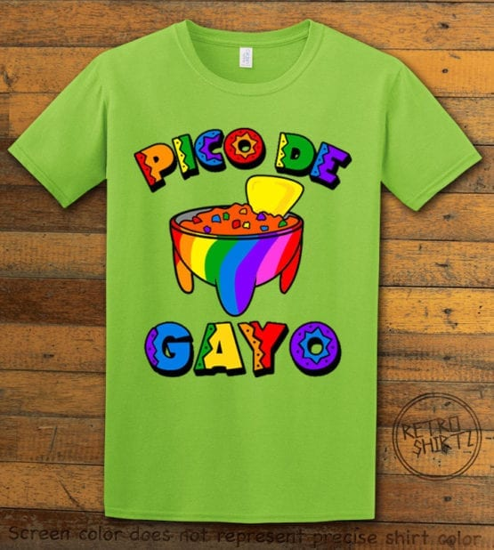 This is the main graphic design on a lime shirt for the Pride Shirts: Pico de Gayo