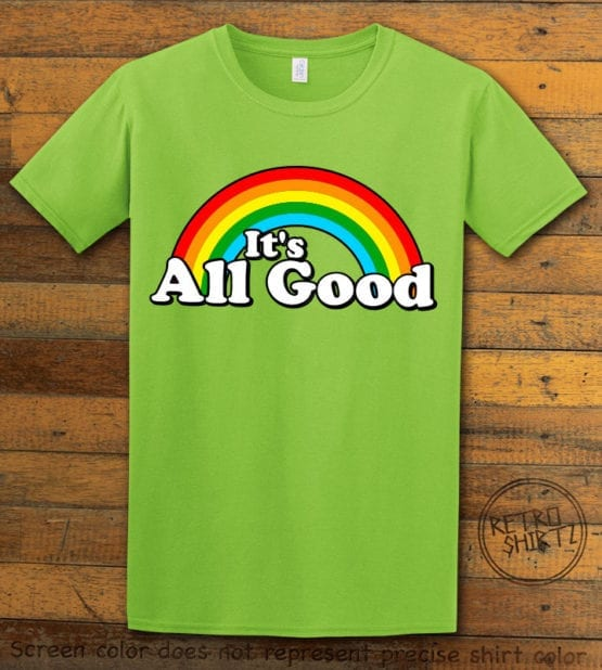 This is the main graphic design on a lime shirt for the Pride Shirts: Good Rainbow