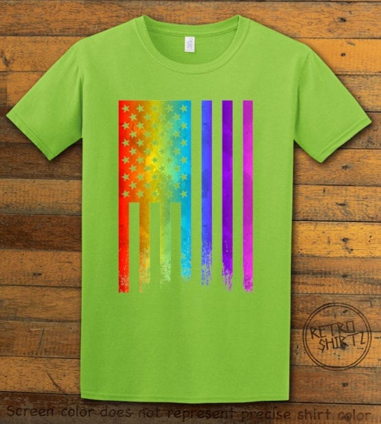 This is the main graphic design on a lime shirt for the Pride Shirts: Pride Flag Distressed
