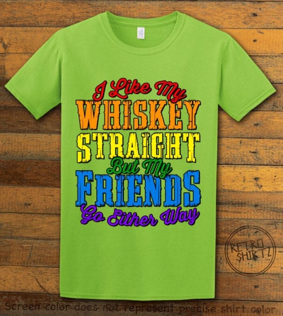 This is the main graphic design on a lime shirt for the Pride Shirts: Whiskey Gay Pride