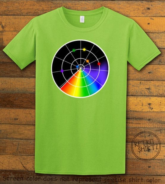 This is the main graphic design on a lime shirt for the Pride Shirts: Gaydar