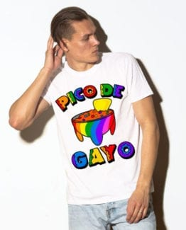 This is the main model photo for the Pride Shirts: Pico de Gayo