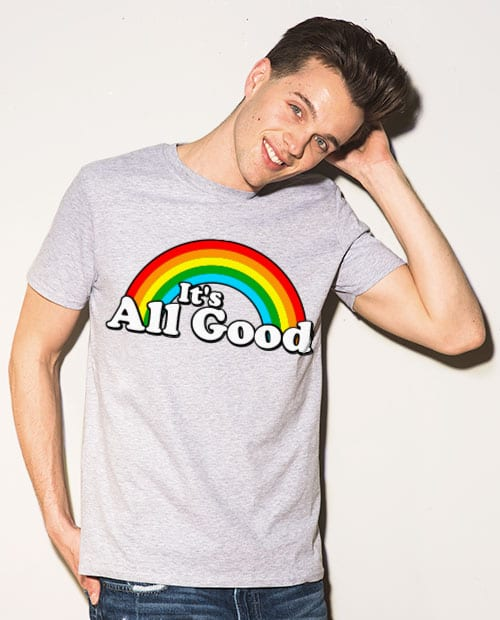 This is the main model photo for the Pride Shirts: Good Rainbow